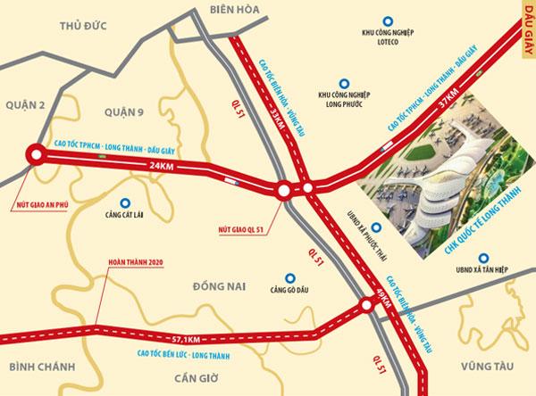 2 tuyến đường dẫn vào sân bay long thành